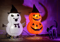 Halloween Lighted Collapsible Stacked Pumpkins in Witch Hats and a Black Cat.