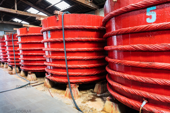 barrels in a fish sauce factory on Phu Quoc island