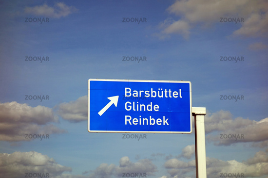 highway sign, barsbuettel, glinde, reinbek