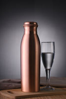 Copper Water Bottle and Glass of Water for No Plastic Use