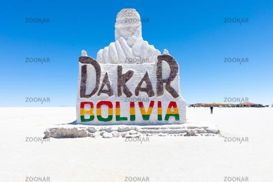 Bolivia Colchani salt sculpture dedicated to the Dakar race in the Salar of Uyuni