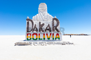 Bolivia Colchani salt sculpture dedicated to the Dakar race in the Salar of Uyuni