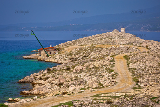 Island of Krk stone desert strand and Silo lighthouse view