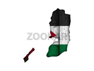 Karte und Fahne von Palästina auf verwittertem Holz - Map and flag of Palestine on weathered wood
