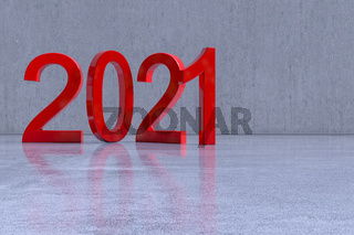 2021, rot lackiert