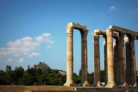 the ancient temple of Olympian Zeus in Athens, Greece