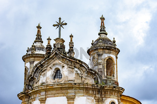 Ancient and historical catholic church tower and ornaments in Ouro Preto