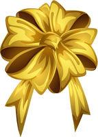 Cartoon style yellow bow isolated on white background