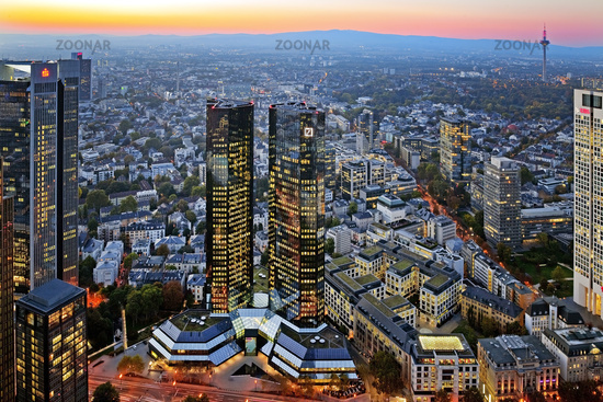 buildings of Deutsche Bank in the evening, Frankfurt am Main, Hesse, Germany, Europe