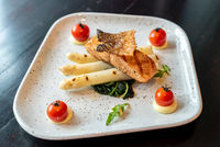 Grilled Salmon White Asparagus