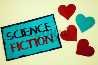 Word writing text Science Fiction. Business concept for Fantasy Entertainment Genre Futuristic Fantastic Adventures Turquoise note ideas black red letters words hearts frame beige background.