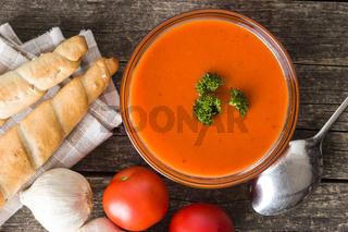Cold gazpacho soup.