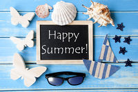 Blackboard With Maritime Decoration And Text Happy Summer