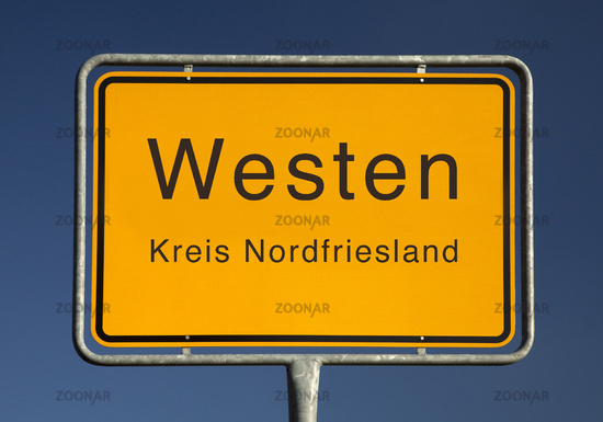 City limits sign, Westen or west, district of North Friesland, Schleswig-Holstein, Germany, Europe