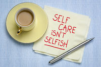 self care is not selfish inspirational reminder