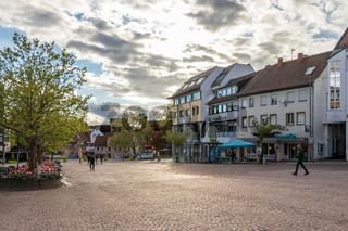 Sindelfingen, Baden Wurttemberg/Germany - May 11, 2019: Street Scenario of Central Market Square, Marktplatz with buildings.