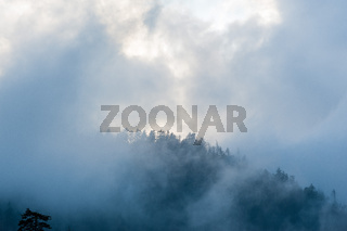 Mist and Smoke rises from the hills at Great Smoky Mountains National Park, Townsend, TN