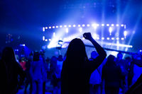 Silhouette of a dancing girl at a concert among a crowd of spectators.