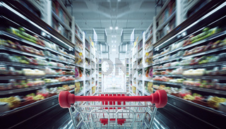 Red shopping cart with motion speed blurred