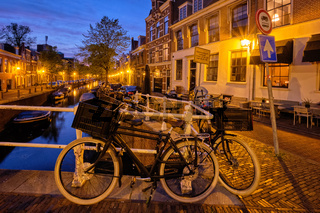 Canal and houses in the evening. Haarlem, Netherlands