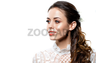 beautiful brunette girl with natural makeup isolated on white