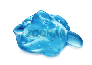 Squeezed cosmetic clear cream gel texture Iisolated on white background. Close up photo of transparent drop of skin care product. High Quality transparent serum with bubbles closeup on white background