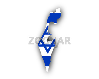 Karte und Fahne von Israel - Map and flag of Israel