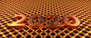 Golden metal grid background with Year 2020, 3d rendering