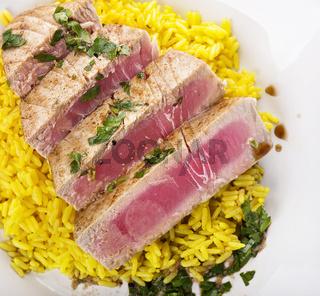 Ahi Tuna Steak With Rice and herbs