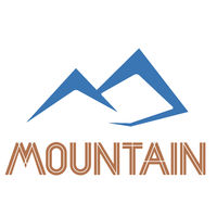 Geometric mountain symbol with text and logo.