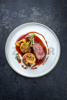 Traditional saddle of venison with Swiss rösti
