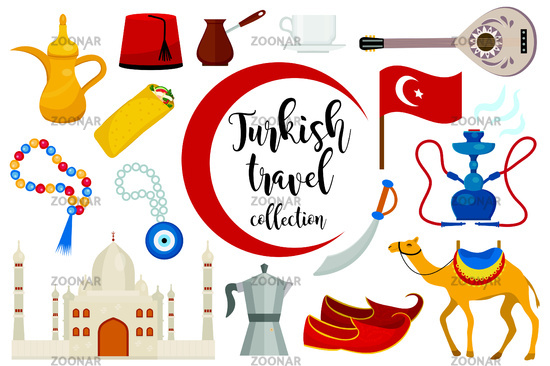 Turkey travel flat icon set, cartoon style. Turkish Collection of design elements with camel, Buzuk, mosque, hookah, shawarma, eye amulet. Vector illustration