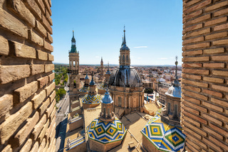 Aerial cityscape view of basilica of Our Lady in Zaragoza city in Spain.