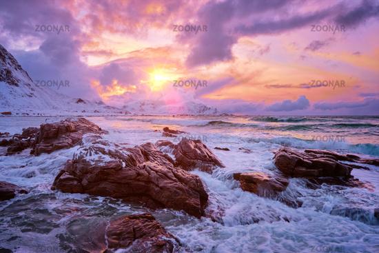 Norwegian Sea waves on rocky coast of Lofoten islands, Norway