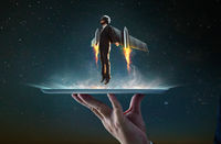 Waiter hand holding an empty digital tablet with Businessman wear a rocket suit to lift