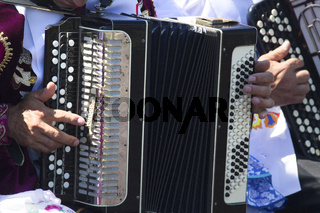 Hands of old man playing folk music on accordion