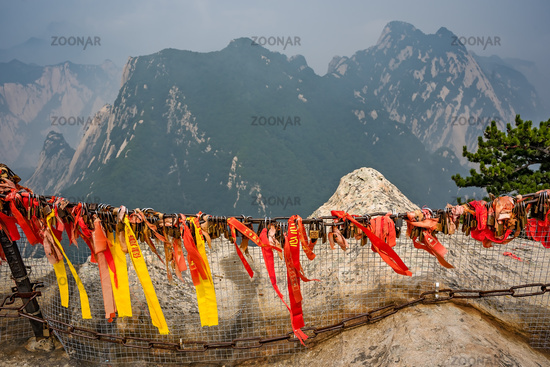 Red and yellow ribbons on the West Peak in Huashan mountain