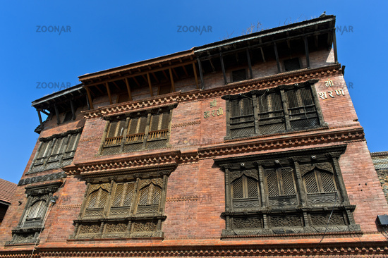 Elaborately carved wooden windows in the traditional Newar style, Kathmandu, Nepal