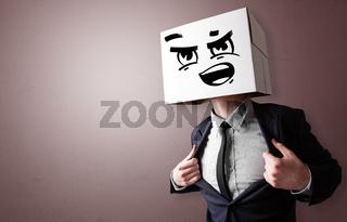 Man with cardboard head