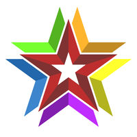 Multicolor 3d star symbol or icon. Geometric style.