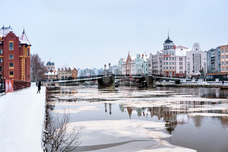 district fishing village in Kaliningrad, fish village-ethnographic and trade and craft center winter