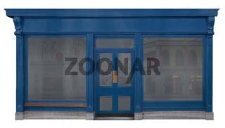 Schaufenster verkleidet mit einer Holzfront freigestellt auf weißem Hintergrund