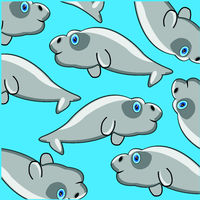 Vector illustration sea mammal manatee decorative pattern