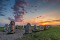 Ales Stenar - An ancient megalithic stone ship monument in Southern Sweden photographed at sunset