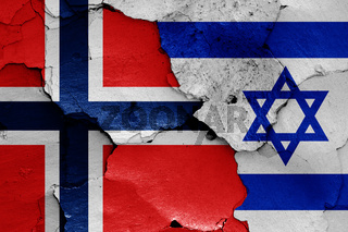 flags of Norway and Israel painted on cracked wall