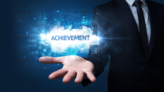 Hand of Businessman holding motivational message
