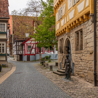 Sindelfingen, Baden Wurttemberg/Germany - May 11, 2019: Street Scenario view on City Museum, Stadtmuseum, Altes Rathaus and Monument.