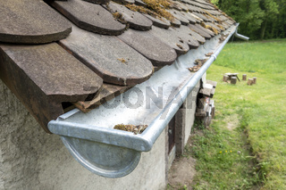 a typical gutter with dirt