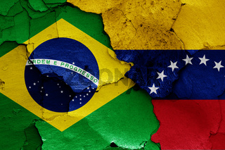 flags of Brazil and Venezuela painted on cracked wall