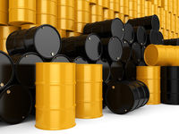 3D rendering black and yellow barrels